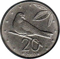 reverse of 20 Cents - Elizabeth II - 4'th Portrait (2010) coin with KM# 760 from Cook Islands. Inscription: 20 2010