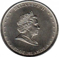 obverse of 50 Cents - Elizabeth II - 4'th Portrait (2010) coin with KM# 761 from Cook Islands. Inscription: ELIZABETH II COOK ISLANDS