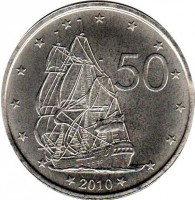 reverse of 50 Cents - Elizabeth II - 4'th Portrait (2010) coin with KM# 761 from Cook Islands. Inscription: 50 2010