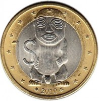 reverse of 1 Dollar - Elizabeth II - 4'th Portrait (2010) coin with KM# 762 from Cook Islands. Inscription: 1$ 2010