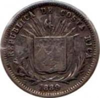 obverse of 5 Centavos (1889 - 1892) coin with KM# 128 from Costa Rica. Inscription: REPUBLICA DE COSTA RICA 1889