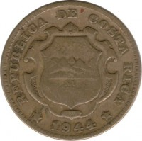 obverse of 25 Céntimos (1944 - 1946) coin with KM# 181 from Costa Rica. Inscription: REPUBLICA DE COSTA RICA 1944