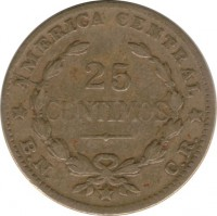 reverse of 25 Céntimos (1944 - 1946) coin with KM# 181 from Costa Rica. Inscription: AMERICA CENTRAL 25 CENTIMOS B.N. C.R.