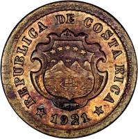 obverse of 5 Céntimos (1920 - 1941) coin with KM# 151 from Costa Rica. Inscription: C *REPUBLICA DE COSTA RICA* R 1921