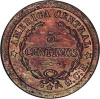 reverse of 5 Céntimos (1920 - 1941) coin with KM# 151 from Costa Rica. Inscription: C *AMERICA CENTRAL* R 5 CENTIMOS G.C.R.