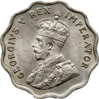 obverse of 1/2 Piastre - George V (1934) coin with KM# 20 from Cyprus. Inscription: GEORGIVS V REX IMPERATOR