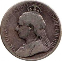 obverse of 9 Piastres - Victoria (1901) coin with KM# 6 from Cyprus. Inscription: VICTORIA · DEI · GRA · BRITT · REG · FID · DEF · IND · IMP ·