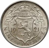 reverse of 9 Piastres - George V (1913 - 1921) coin with KM# 13 from Cyprus. Inscription: CYPRUS 19 21 NINE PIASTRES