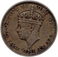obverse of 2 Shillings - George VI (1947) coin with KM# 28 from Cyprus. Inscription: GEORGIVS VI DEI GRA. REX. ET IND. IMP.