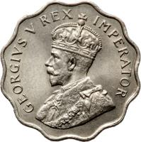 obverse of 1 Piastre - George V (1934) coin with KM# 21 from Cyprus. Inscription: GEORGIVS V REX IMPERATOR