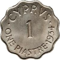 reverse of 1 Piastre - George V (1934) coin with KM# 21 from Cyprus. Inscription: · CYPRVS · 1 ONE PIASTRE · 1934