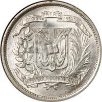 obverse of 1/2 Peso (1937 - 1961) coin with KM# 21 from Dominican Republic. Inscription: DIOS PATRIA LIBERTAD REPUBLICA DOMINICANA