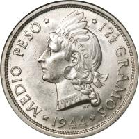 reverse of 1/2 Peso (1937 - 1961) coin with KM# 21 from Dominican Republic. Inscription: MEDIO PESO 12½ GRAMOS 1960