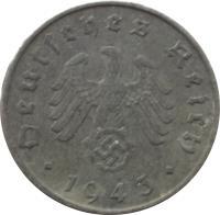 obverse of 10 Reichspfennig (1940 - 1945) coin with KM# 101 from Germany. Inscription: Deutsches Reich 1942