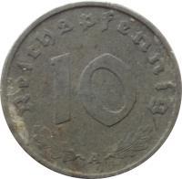 reverse of 10 Reichspfennig (1940 - 1945) coin with KM# 101 from Germany. Inscription: 10 Reichspfennig G