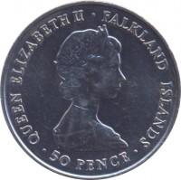 obverse of 50 Pence - Elizabeth II - Queen Mother (1980) coin with KM# 15 from Falkland Islands. Inscription: QUEEN ELIZABETH II · FALKLAND ISLANDS · 50 PENCE ·
