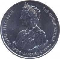 reverse of 50 Pence - Elizabeth II - Queen Mother (1980) coin with KM# 15 from Falkland Islands. Inscription: QUEEN ELIZABETH THE QUEEN MOTHER 1900 · AUGUST 4 · 1980