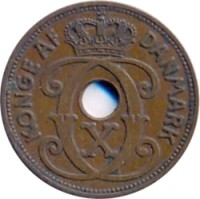 obverse of 2 Øre - Christian X (1941) coin with KM# 2 from Faroe Islands. Inscription: KONGE AF DANMARK C X C