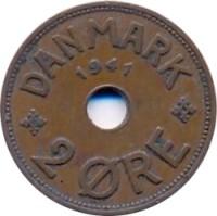 reverse of 2 Øre - Christian X (1941) coin with KM# 2 from Faroe Islands. Inscription: DANMARK 1941 2 ØRE