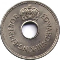 obverse of 1 Penny - Edward VIII (1936) coin with KM# 6 from Fiji. Inscription: EDWARD.VIII.KING.EMPEROR
