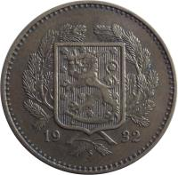 obverse of 10 Markkaa (1928 - 1939) coin with KM# 32a from Finland.
