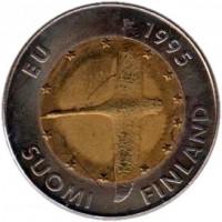 obverse of 10 Markkaa - European Unity (1995) coin with KM# 82 from Finland. Inscription: EU 1995 SUOMI FINLAND