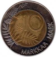 reverse of 10 Markkaa - European Unity (1995) coin with KM# 82 from Finland. Inscription: 10 MARKKAA MARK