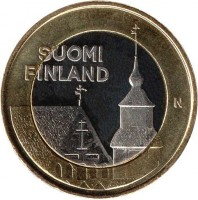 obverse of 5 Euro - Tavastia, Church of St. Lawrence in Janakkala (2013) coin with KM# 197 from Finland. Inscription: SUOMI FINLAND N