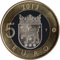reverse of 5 Euro - Tavastia, Church of St. Lawrence in Janakkala (2013) coin with KM# 197 from Finland. Inscription: 2013 5 T EURO