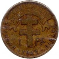reverse of 1 Franc (1942) coin with KM# 2 from French Equatorial Africa. Inscription: LIBERTE.EGALITE .FRATERNITE. 1 Fc 1942 HONNEUR PATRIE