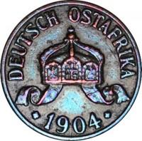 obverse of 1/2 Heller - Wilhelm II (1904 - 1906) coin with KM# 6 from German East Africa. Inscription: DEUTSCH OSTAFRIKA 1904