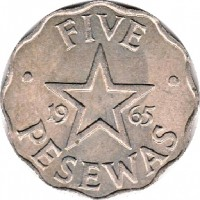 reverse of 5 Pesewas (1965) coin with KM# 8 from Ghana. Inscription: FIVE 19 65 PESEWAS