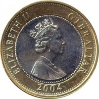 obverse of 2 Pounds - Elizabeth II - Occupation - 3'rd Portrait (2004) coin with KM# 1057 from Gibraltar. Inscription: ELIZABETH II · GIBRALTAR 2004