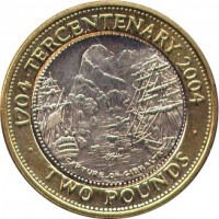 reverse of 2 Pounds - Elizabeth II - Occupation - 3'rd Portrait (2004) coin with KM# 1057 from Gibraltar. Inscription: 1704 · TERCENTENARY · 2004 CAPTURE OF GIBRALTAR · TWO POUNDS ·