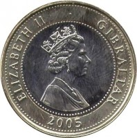 obverse of 2 Pounds - Elizabeth II - 200th Anniversary of the Battle of Trafalgar - 3'rd Portrait (2005 - 2011) coin with KM# 1092 from Gibraltar. Inscription: ELIZABETH II GIBRALTAR 2005