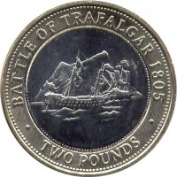 reverse of 2 Pounds - Elizabeth II - 200th Anniversary of the Battle of Trafalgar - 3'rd Portrait (2005 - 2011) coin with KM# 1092 from Gibraltar. Inscription: BATTLE OF TRAFALGAR 1805 · TWO POUNDS ·