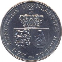 obverse of 1 Krone - Frederik IX (1960 - 1964) coin with KM# 10a from Greenland. Inscription: DEN KONGELIGE GRØNLANDSKE HANDEL 1964