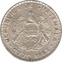 obverse of 25 Centavos (1960 - 1964) coin with KM# 263 from Guatemala. Inscription: REPUBLICA DE GUATEMALA 0.720 1963