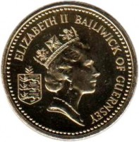 obverse of 1 Pound - Elizabeth II - 3'rd Portrait (1985 - 1997) coin with KM# 46 from Guernsey. Inscription: ELIZABETH II BAILIWICK OF GUERNSEY
