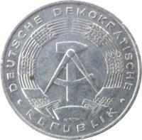 obverse of 1 Pfennig (1960 - 1990) coin with KM# 8 from Germany. Inscription: DEUTSCHE DEMOKRATISCHE * REPUBLIK *