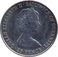 obverse of 25 Pence - Elizabeth II - Queen Mother (1980) coin with KM# 35 from Guernsey. Inscription: QUEEN ELIZABETH II · BAILIWICK OF GUERNSEY · 25 PENCE ·