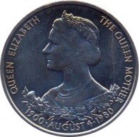 reverse of 25 Pence - Elizabeth II - Queen Mother (1980) coin with KM# 35 from Guernsey. Inscription: QUEEN ELIZABETH THE QUEEN MOTHER 1900 · AUGUST 4 · 1980