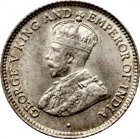 obverse of 4 Pence - George V (1917 - 1936) coin with KM# 29 from Guyana. Inscription: GEORGE V KING AND EMPEROR OF INDIA
