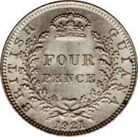 reverse of 4 Pence - George V (1917 - 1936) coin with KM# 29 from Guyana. Inscription: BRITISH GUIANA FOUR PENCE 1936