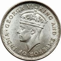 obverse of 4 Pence - George VI (1938 - 1943) coin with KM# 30 from Guyana. Inscription: GEORGE VI KING AND EMPEROR OF INDIA
