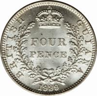 reverse of 4 Pence - George VI (1938 - 1943) coin with KM# 30 from Guyana. Inscription: BRITISH GUIANA FOUR PENCE 1943