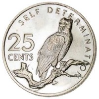 reverse of 25 Cents - 10th Anniversary of Independence: Harpy Self Determination (1976 - 1980) coin with KM# 40 from Guyana. Inscription: SELF DETERMINATION 25 CENTS