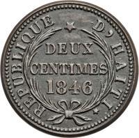reverse of 2 Centimes (1846) coin with KM# 26 from Haiti. Inscription: REPUBLIQUE D'HAITI DEUX CENTIMES 1846