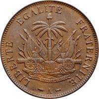 reverse of 2 Centimes (1886 - 1894) coin with KM# 49 from Haiti. Inscription: LIBERTE EGALITE FRATERNITE L UNION FAIT LA FORCE