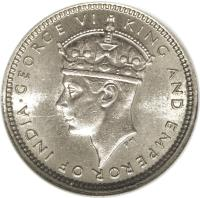 obverse of 5 Cents - George VI (1938 - 1941) coin with KM# 22 from Hong Kong. Inscription: · GEORGE VI KING AND EMPEROR OF INDIA